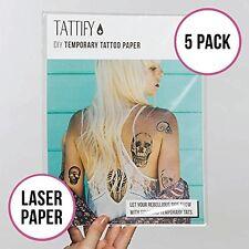 Tattify DIY Temporary Tattoo Paper 5 Pack For Laser Printers, Printable Long Las