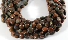"""NATURAL AFRICAN GREEN OPAL 10MM COIN BEADS 15.5"""" STRAND"""
