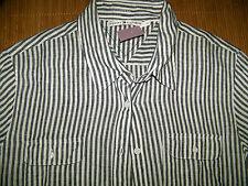 Gestreifte Damenblusen, - tops & -shirts mit klassischem Kragen aus Leinen