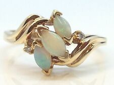 14K YELLOW GOLD OPAL LADIES RING WITH GENUINE DIAMOND ACCENT