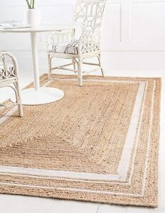4x6 feet square indian braided natural jute rugs , home decor, dining table rugs