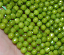 4mm Natural Faceted Olive Green Jade Round Gemstone Loose Beads 15'' AAA+