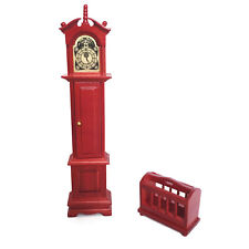 Dollhouse Pendulum Grandfather Clock Storage Shelf 1:12 Miniature Furniture