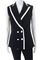 Joseph Ribkoff Women Double Breasted Sailor Vest Blazer Jacket Navy Blue Sz 8