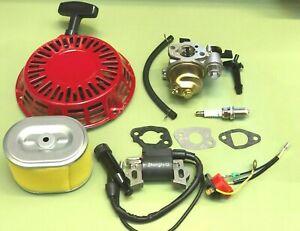 Carb For Honda GX140 GX160 GX200 Service Kit Plug Ignition Coil Recoil Gaskets.