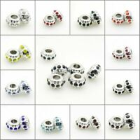 Clear Czech Crystal Silver Spacer Charm Big Hole Beads fit European Bracelet DIY