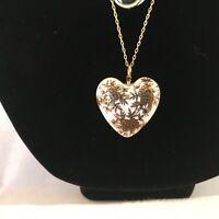 Vintage New Old Stock Porcelain Heart pendant Necklace