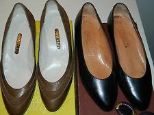 vintage lot 2 MINELLI CHAUSSURE à talon ESCARPIN CUIR leather shoes LEDER size 3