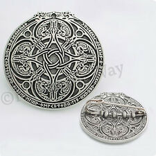 "DRAGON SHIELD CELTIC KNOT WORK RUNIC RUNE CLOAK BROOCH PIN ""Heavy & Solid"""