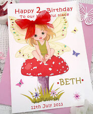 Handmade Birthday Card Personalis​ed Little Fairy Large Young Age 1 2 3