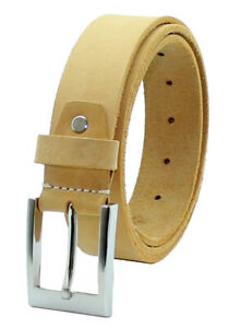"StarHide Full Grain Genuine Leather Belt Detachable Alloy Single Pin Buckle 42"""