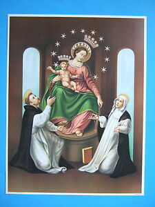 """Catholic Print Picture OUR LADY OF POMPEI Rosary w/ St. Dominic Catherine 12x16"""""""