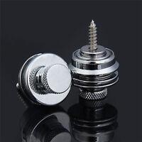 2 x Round Head Strap Locks Button Schaller Style for Guitar Bass Parts  - Silver
