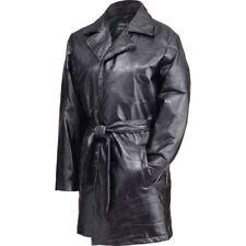 NWT Ladies Women Basic Genuine Black Leather Coat Jacket Long Belt M MEDIUM GIFT