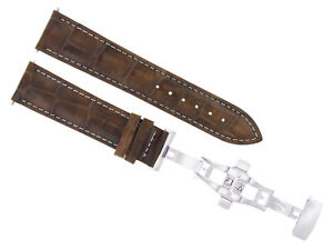24MM PAM LEATHER STRAP BAND DEPLOYMENT CLASP BUCKLE FOR 44MM PANERAI GMT L/BROWN