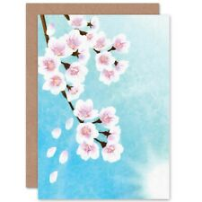 Cherry Blossom Floral Flower Painting Drawing Blank Greeting Card With Envelope