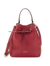 NWT FURLA Costanza Drawstring Bucket Bag Italian Grainy Leather Cabernet Red