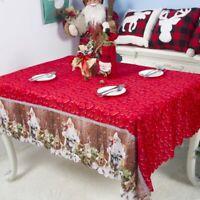 Christmas Santa Tablecloth Print Table Cover Xmas Party Home Dinner Decor US