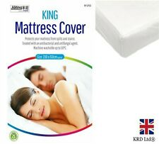 KING MATTRESS PROTECTOR Fitted Sheet Bed Sheet Bedding Cover Topper White UK