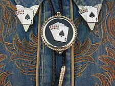 NEW ACE OF SPADES FULL HOUSE, BOLO TIE / COLLAR TIPS SET,SILVER METAL,WESTERN