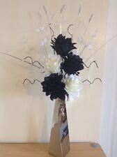 Artificial Silk Flower Arrangement In Black & White In Silver Vase