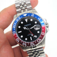40mm Parnis Sapphire Automatic Movement Men Red GMT Luxury Watch 5ATM Waterproof