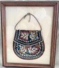 Antique Framed Iroquois Native Beaded Purse/Whimsie, Niagara Falls, circa 1880's