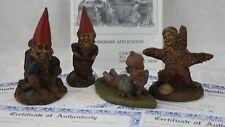 4 Cairn Studio Tom Clark Gnomes Job 1987 , Slim 1989 , Dem 1987 , Janet 1992 Coa