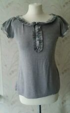 Primark Atmosphere Grey Marl Check Trim T-Shirt Style Top Size 14