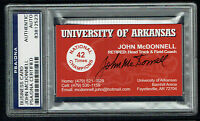 John McDonnell signed autograph Business Card Arkansas Track Coach PSA Slabbed