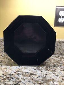 "Arcoroc Octime Salad Serving Vegetable Bowl Black Glass Octagon Octagonal 9 1/8"""