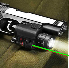 Tactical Combo Cree Led Flashlight + Green Laser Sight For Pistol Gun Glock **