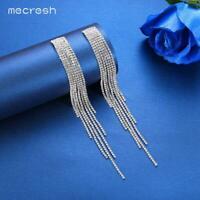 Mecresh Newest 17cm Long Crystal Tassel Earrings Fashion Jewelry for Women