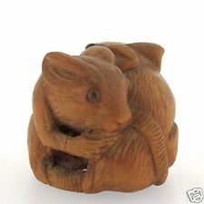 Old Signed Carved Wooden Japanese Netsuke - 2 Rats - Okimono Estate VR