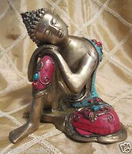 ANTIQUE GOLD RESTING BUDDHA GAUTAMA SIDDHARTHA BUDHA SCULPTURE STONE LAID STATUE