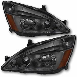 For 2003-2007 Honda Accord 2Dr/4Dr Sedan/Coupe Smoke Headlights Turn Lamps