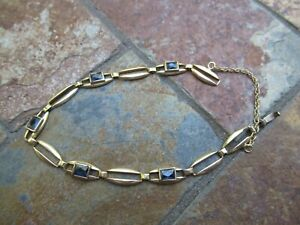 14K Yellow Gold & Sapphires Linked Bracelet, 9.3 gtw