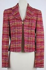 Rena Lange Bergdorf Goodman Womens Blazer Size 6 Pink Tweed Basic Jacket