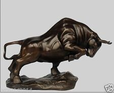 Chinese Pure Bronze Copper Feng Shui wealth Money cow OX Bull Art Statue