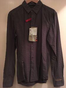 Espirit Mens Shirt - NEW - Stitched Patten - Grey / Brown - Medium