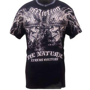 AFFLICTION Small Randy Couture Lighting Bolt Skulls A105 T shirt New UFC Tee