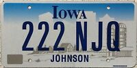 GENUINE Iowa Johnson County USA License Licence Number Plate  Tag 222 NJQ