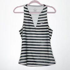 0aa1eec2a7 Nike Tank Top Womens Medium Gray White Striped Workout Wear
