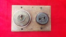 Antique Vintage Brass Switch & Bakelite 2 PIn Plug Socket Wooden Board England