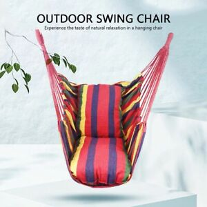 Hanging Hammock Chair Portable Garden Swing Seat Tree Travel Camping Canvas Rope
