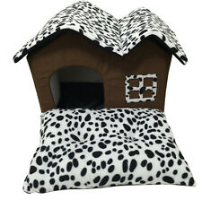 Pet Dog Cat Bed Puppy Cushion Leopard House Soft Winter Warm Kennel Dog Mat Bed