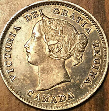 1900 CANADA SILVER 5 CENTS COIN - Round 00 variety - Fantastic toned example!