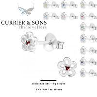 925 Sterling Silver Flower with Birthstone Cubic Zirconia Stud Earrings (Pairs)