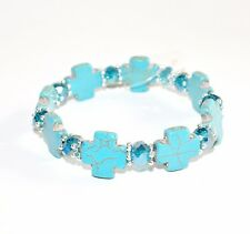 Turquoise Cross Stretch Bracelet Crystal Beads