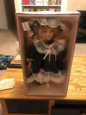 Porcelain Doll Victorian Fancy Toy Burgundy Outfit Display Stand Nib